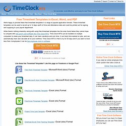 Timesheet Templates, Free Timesheet Templates