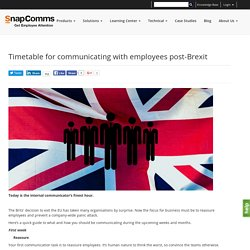 Timetable for communicating with employees post-Brexit
