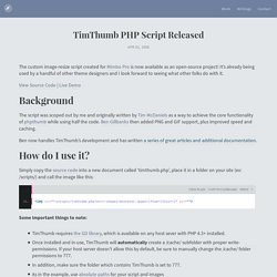 TimThumb PHP Script Released