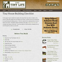 Tiny House Building Checklist