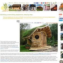 Tiny oak playhouse with a green roof, step by step.