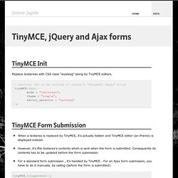 TinyMCE, jQuery and Ajax forms