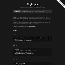 TinyNav.js · Convert navigation to a select dropdown on small screen