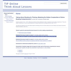 TIP Online Think-Aloud Lessons
