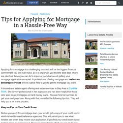 Tips for Applying for Mortgage in a Hassle-Free Way