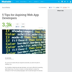 5 Tips for Aspiring Web App Developers