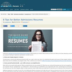 8 Tips for Better Admissions Resumes