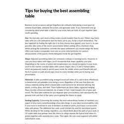 Tips for buying the best assembling table