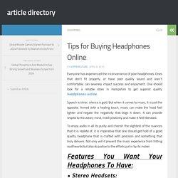 Tips for Buying Headphones Online