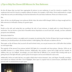 5 Tips to Help You Choose LED Mirrors for Your Bathroom