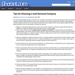 Tips for Choosing a Junk Removal Company