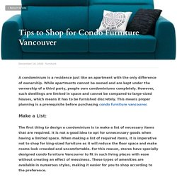 Tips to Shop for Condo Furniture Vancouver - furniture
