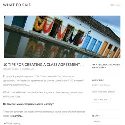 10 tips for creating a class agreement… – What Ed Said