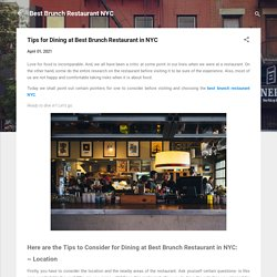 Tips for Dining at Best Brunch Restaurant in NYC