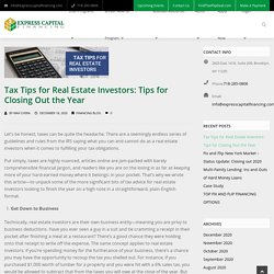 Tax Tips for Real Estate Investors: Tips for Closing Out the Year