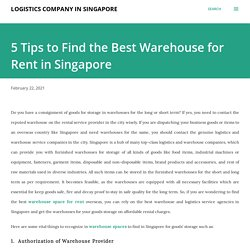 5 Tips to Find the Best Warehouse for Rent in Singapore