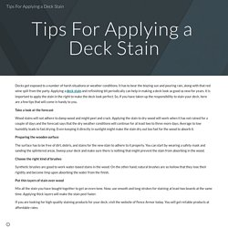 Tips For Applying a Deck Stain