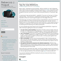 Tips for new MOOCers