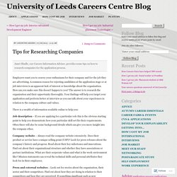 Tips for Researching Companies