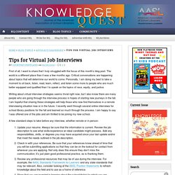 Tips for Virtual Job Interviews