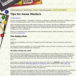 Tips for Game Masters