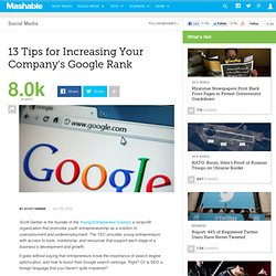 13 Tips for Increasing Your Company's Google Rank