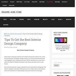 Tips To Get the Best Interior Design Company
