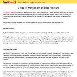 3 Tips for Managing High Blood Pressure