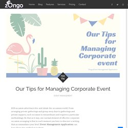 Our Tips for Managing Corporate Event