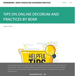 TIPS ON ONLINE DECORUM AND PRACTICES BY BDMI