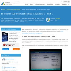10 Tips for SSD Optimization SSD in Windows 7 - Part 1