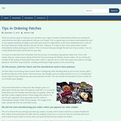 Tips in Ordering Patches