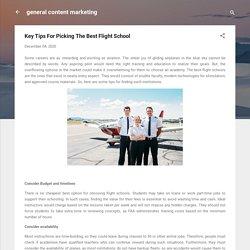 Key Tips For Picking The Best Flight School