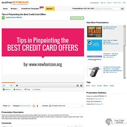 picking the right credit card