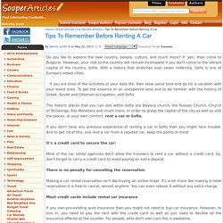 Tips To Remember Before Renting A Car