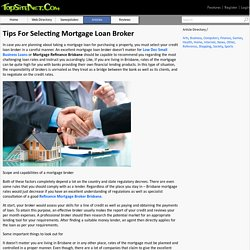 Tips For Selecting Mortgage Loan Broker