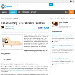 Tips on Sleeping Better With Low Back Pain