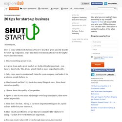 20 tips for start-up business