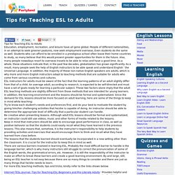 Tips for Teaching ESL to Adults
