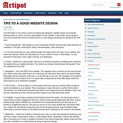 TIPS TO A GOOD WEBSITE DESIGN