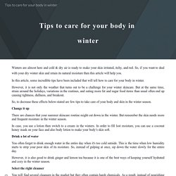 Tips to care for your body in winter