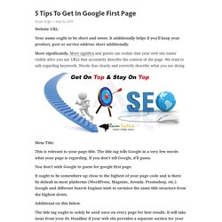 5 Tips To Get In Google First Page