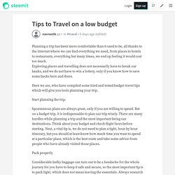 Tips to Travel on a low budget