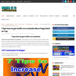 7 tips How to get traffic on a website Move Page Rank on Top - B K G