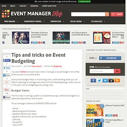 Tips and tricks on Event Budgeting