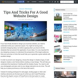 Tips And Tricks For A Good Website Design