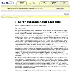 Tips for Tutoring Adult Students