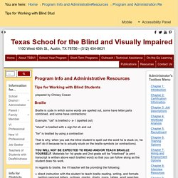 Tips for Working with Blind Students