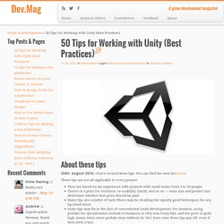 50 Tips for Working with Unity (Best Practices)