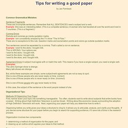 Tips for writing a good paper: